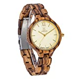 BIOSTON Gold Luxury Design women Girl Gift Natural Wood Watch Lightweight Quality Zebra Watch Wooden