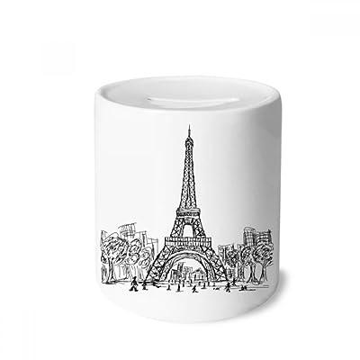 DIYthinker Eiffel Tower Square France Paris Money Box Saving Banks Ceramic Coin Case Kids Adults: Toys & Games