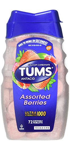 Tums Ultra Strength 1000 Antacid, Assorted Berries, 72 Count (Best Heartburn Medicine During Pregnancy)