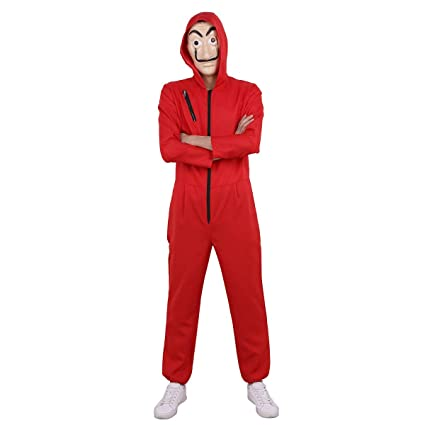 modische Muster Großbritannien Premium-Auswahl Yigoo Haus des Geldes Kostüm Overall mit Dali Maske Cosplay für Herren,  Damen Erwachsene - Fasching, Karneval, Halloween Rot S