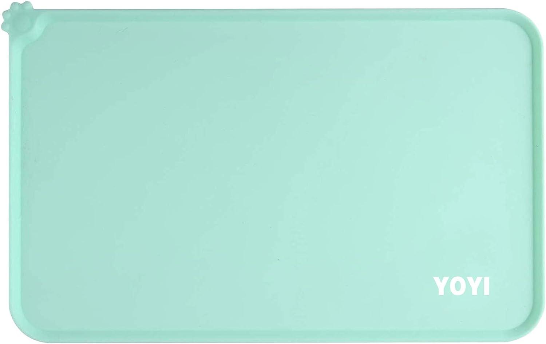 YOYI Dog Cat Food Mat, Anti-Slip Pet Bowl Mats, Pet Feeding Mat, Nonslip Pet Food Mat, Silicone Dog Bowl Mat, Washable Dog Mat for Food and Water, Waterproof Dog Food Mats for Floors