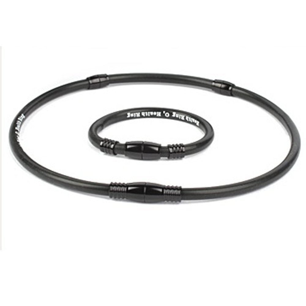 Oz Health Ring, Germanium Bracelet and Necklace Set, Anion Far Infrared Rays Power Energy Health (Large, Black Black Metal) by Oz Health Ring (Image #1)