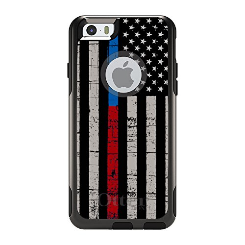 the best attitude f1b54 653f6 DistinctInk Case for iPhone 6 / 6S (NOT Plus) - OtterBox Commuter Black  Custom Case - Thin Blue Line Thin Red Line US Flag - Show Your Support for  ...