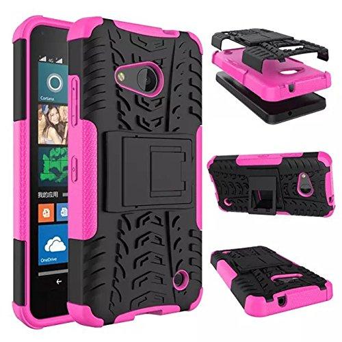Nokia Lumia 550 Funda - Litastore TPU + PC Heavy Duty Antichoc Impact Robuste Armure Hybride Béquille sac Protecteur Housse pour Nokia Lumia 550 - Rojo Pink