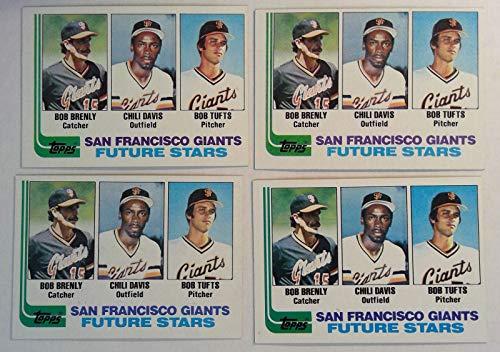 Topps 1982 San Francisco Giants Future Stars Baseball Cards # 171 Lot of 4 Bob Brenly, Chili Davis, Bob - Chewing Gum Topps Cards