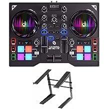 HERCULES INSTINCT P8 ultra-mobile USB DJ Controller Bundle Includes Laptop Stand