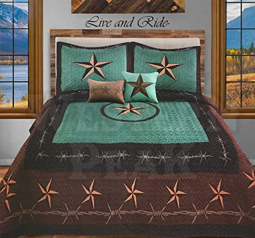 Western Peak 5 Pc Western Texas Cross Lodge Barbed Wire Quilt Bedspread Shams Pillow Oversize Comforter (Turquoise Star Rope, ()