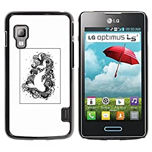 Paccase / SLIM PC / Aliminium Casa Carcasa Funda Case Cover - Black White Drawing Fish Swimming - LG Optimus L5 II Dual E455 E460