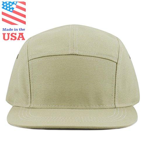 The Hat Depot Made in USA 5 Panel Genuine Leather Brass Closure Flat Brim Biker Cap (Khaki) ()