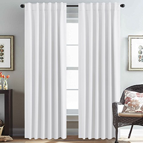 H.VERSAILTEX White Curtains Panels Thermal Insulated Window Drapes for Window 52 x 84 inch, Back Tab/Rod Pocket - Set of 2 Panels