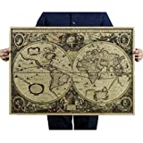 Malloom Large Vintage Retro Paper World Map Poster Wall Chart Home Decoration… Picture