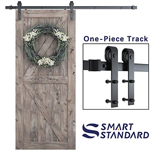 "SMARTSTANDARD 6.6 Foot One-Piece Track Sliding Barn Door Hardware Kit -Smoothly and Quietly -Easy to Install -Includes Step-By-Step Installation Instruction, Fit 36""-40"" Wide Door Panel (J Shape)"