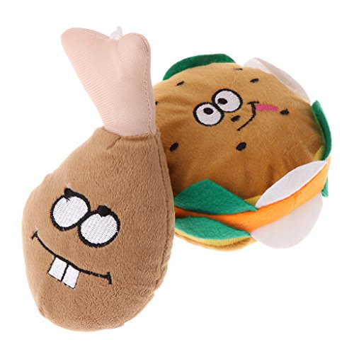 GMSP Pet Toy Plush Stuffed Drumstick Hamburger Dog Puppy Cat Squeaky Sound Funny Chew. - Cat Ham