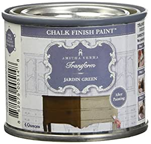 Amitha Verma Chalk Finish Paint, No Prep, One Coat, Fast Drying | DIY Makeover for Cabinets, Furniture & More, 4 Ounce, (Jardin Green)