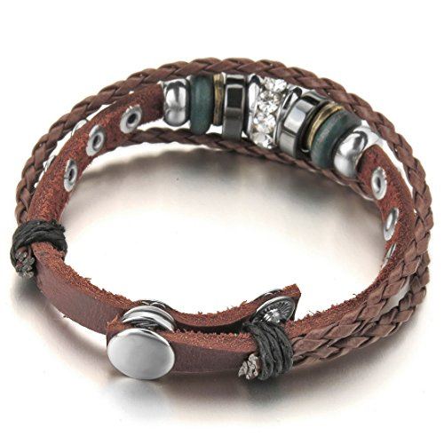 INBLUE Men,Women's Alloy Genuine Leather Bracelet Bangle CZ Brown Black Adjustable Tribal