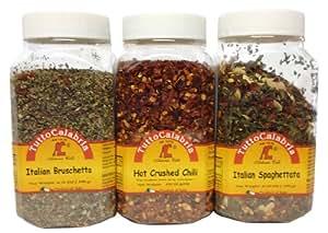 Tutto Calabria Southern Italian Chili Pepper Spice Collection (Spaghetatta, Bruschetta, Crushed Hot Chili)