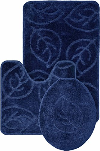 Leaf Pattern Design 3pc Bath Mat Rug set Dark Blue Soft and Ultra Absobent with Anti-Slip Backing