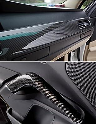 Karlor 5D Carbon Fiber Vinyl Car Wrap Film 5ft x 1ft Interior DIY Bubble Free Air Release High Glossy Black 12 Inch x 60 Inch