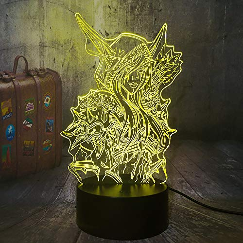 3D Illusion LED Night Light Game World of Warcraft Sylvanas Windrunner Desk Lamp Home Decor Christmas Gift for Game Lovers Wow Souvenir Kids Toys Heroes of Warcraft(Sylvanas)