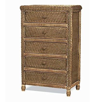 buy online 4db33 885d1 Stix 'N Things Santa Cruz 5 Drawer Wicker Chest Antique Honey