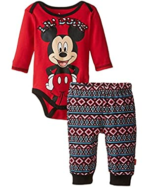 Baby Boys' Mickey Mouse Boy Bodysuit and Pant Lil Dude Set