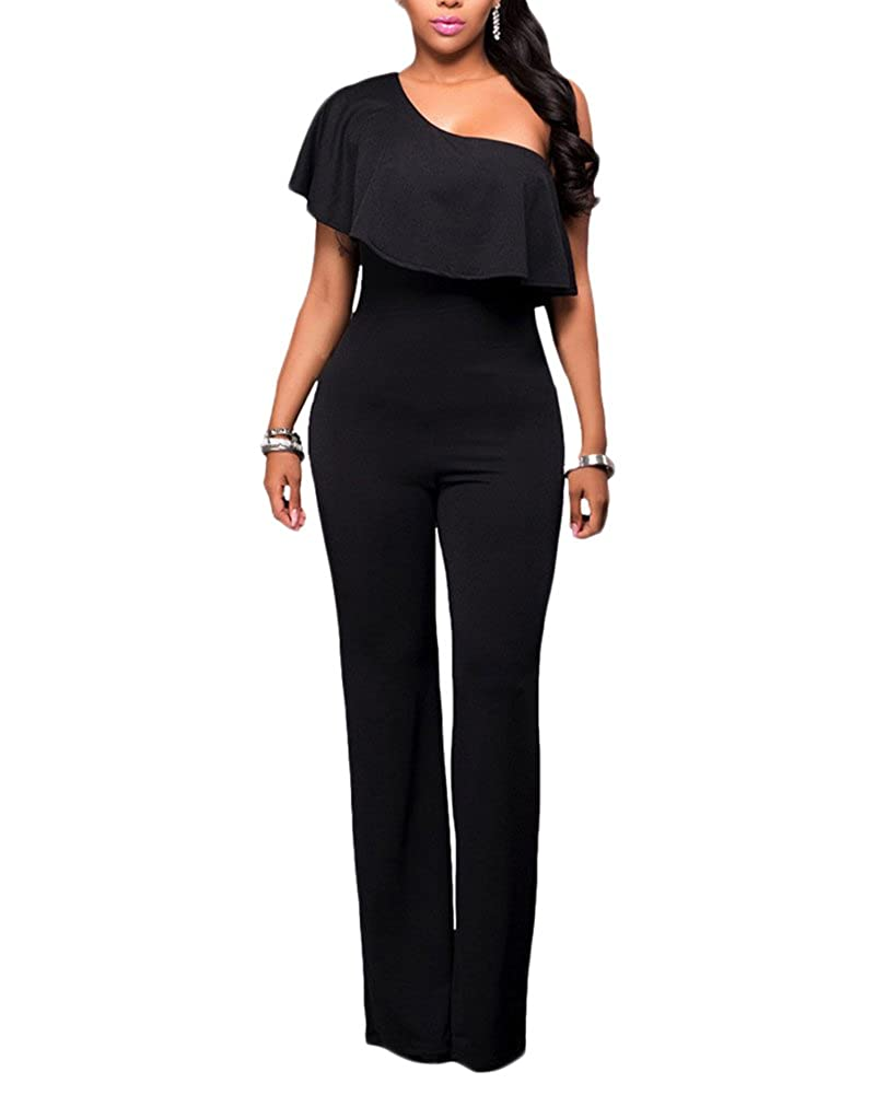 LaoZan Donna Tuta Elegante Pantaloni Lungo Aderente Partito Una Fuori-Spalla  Tuta Jumpsuit Tutine  Amazon.it  Abbigliamento bdc284fad9e