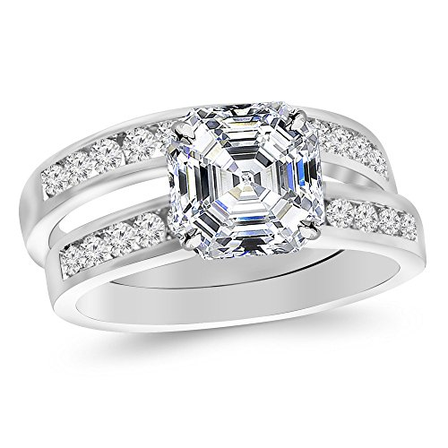 Platinum 2.2 CTW Classic Channel Set Wedding Set Bridal Band & Diamond Engagement Ring w/ 1.5 Ct GIA Certified Asscher Cut K Color SI1 Clarity Center