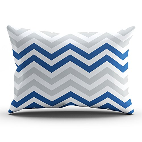 ONGING Decorative Pillowcases White Blue Gray Chevron Zigzag Pattern Outdoor Customizable Cushion Rectangle Lumbar Size 12x24 Inch Throw Pillow Cover Case Hidden Zipper One Side Design Printed ()