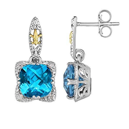 Sterling Silver 18k Gold 10x19mm Earrings Push Back 0.08ct Diamond 8mm Briolette Swiss Blu Tpz ()