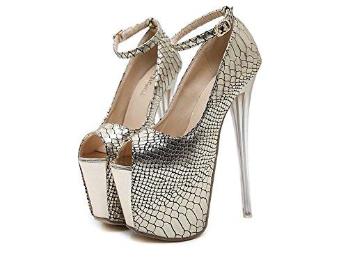 LYLIFE Women's Shoe Platform Open Toe High Heel Ribbon Accent Pump (Gold-40/9.5 B(M) US Women) ()