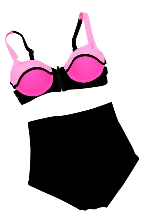 FemPool Women Push Up Zipper Cut Out High Waist Crinkle Tankinis Sets Swimsuit