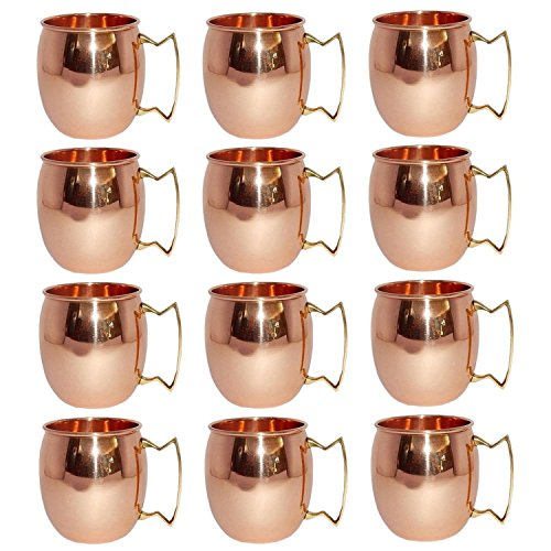 Pack of 12,Solid Copper Mug for Moscow Mules 550 ML / 18 oz 100% Pure Copper Best Quality Lacquered Finish Mule Cup, Moscow Mule Cocktail Cup, Copper Mugs, Cocktail Mugs by Fashion.Women
