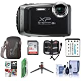 Fujifilm FinePix XP130 16.4MP Digital Camera, 5x Optical Zoom, Dark Silver - Bundle 32GB SDHC Card, Camera Case, Spare Battery, Table Top Tripod, Cleaning Kit, Card Reader, Software Pack More