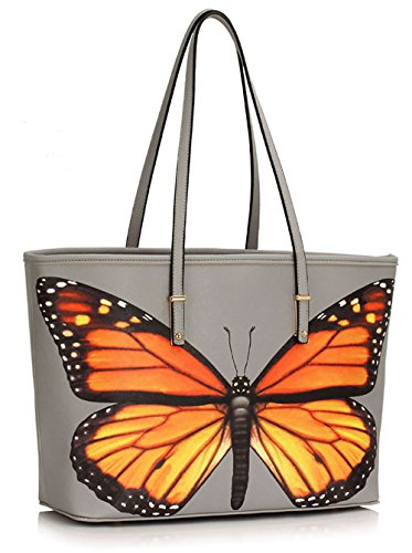 Handbags Female Womens Ladies Print Shoulder 2 Bags Also Animal Design fits Bags A4 Oversized Extra Large Grey Folder Butterfly Ixvxnrz