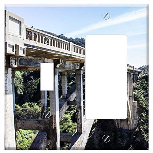 (1-Toggle 1-Rocker/GFCI Combination Wall Plate Cover - Bridge Concrete Arch Gorge Structure Construc)