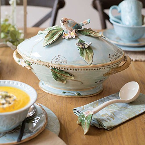 ch Toulouse Tureen With Ladle Features Nature Inspired Pastel Blue Background, Includes Gift Box ()