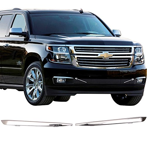 Chevy Suburban Ltz (Lights Fits 2015-2017 Chevy Suburban Tahoe | Front Fog lights Trim Pairs Chrome LTZ Trim by IKON MOTORSPORTS |  2016)