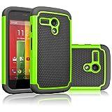 moto g gen 1 case - Motorola Moto G Case, Moto G 1st Gen Case, Tekcoo(TM) [Tmajor Series] Shock Absorbing Hybrid Rubber Plastic Impact Defender Rugged Slim Hard Case Cover For Moto G 3G / 4G LTE (Green / Black)