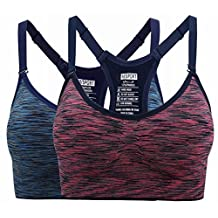 Women's Comfort Sports Bra Low Support Workout Yoga Bras with Ventilation Pads