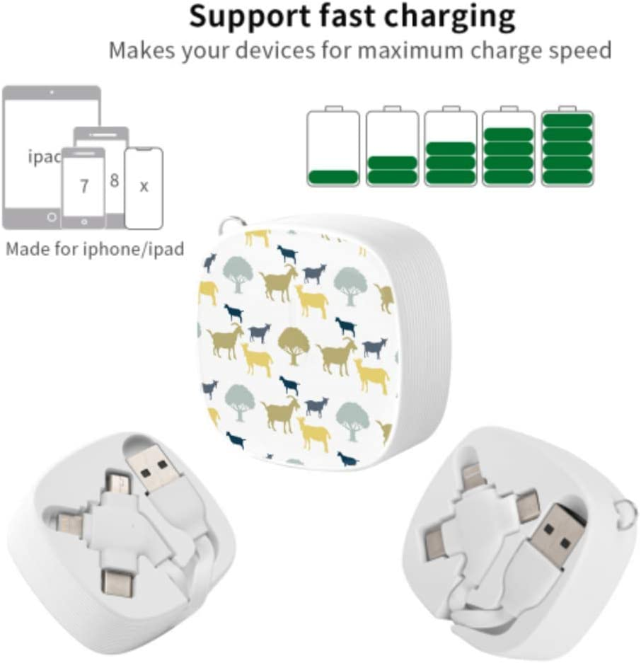 Type C Multi Charging Cable Popular Goat Cartoon Multi 3 in 1 Retractable Retractable Multi USB Charging Cable with Micro USB//Type C Compatible with Cell Phones Tablets and More