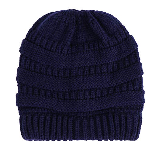 NRUTUP Cold Weather Hats, BeanieTail Womens Soft Stretch Cable Knit Messy High Bun Cap(Navy,Free -