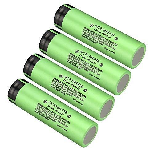 Skywolfeye 4 Pack of NCR18650B Flat Top Batteries 3.7V 3400mAH Lithium Rechargeable Battery for LED Lights/Toys/Alarm Clocks/Flashlight Torch (The Best Vape Battery)