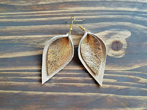 - Gold Leaf Earrings, Leather Leaf earrings, Leather Earrings, Boho Jewelry, Leather Jewelry, Boho Earrings, Beige Leather Earrings.