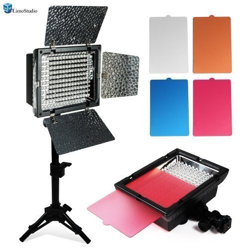 Led Photo Lights (LimoStudio LED 160 Photographic Lighting Kit, Photo Studio Barndoor Light, Continuous Video Light,)