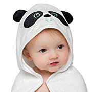Basic Oasis Organic Bamboo Panda Baby Hooded Towel with Bonus Washcloth | Ultra Soft and Super Absorbent