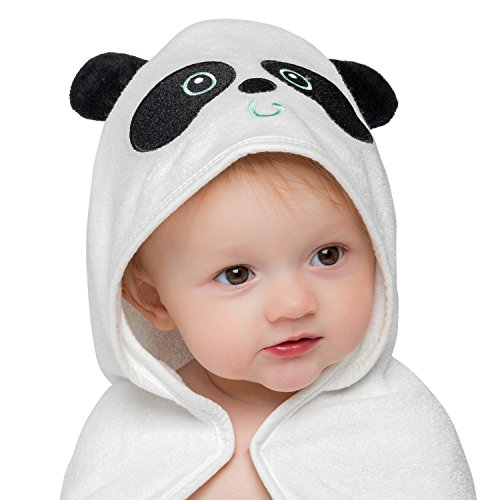 Basic Oasis Organic Bamboo Panda Baby Hooded Towel with Bonus Washcloth | Ultra Soft and Super Absorbent