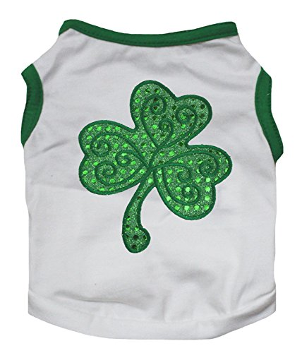 Cheap Petitebella Puppy Clothes Dog Dress Sequins Clover Green White Tee T Shirt (XX-large)