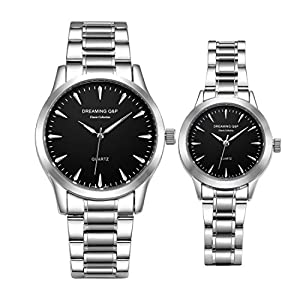 Valentines Stainless Steel His and Hers Pair Wrist Watches for Men Women Simple Style fq240 Set of 2