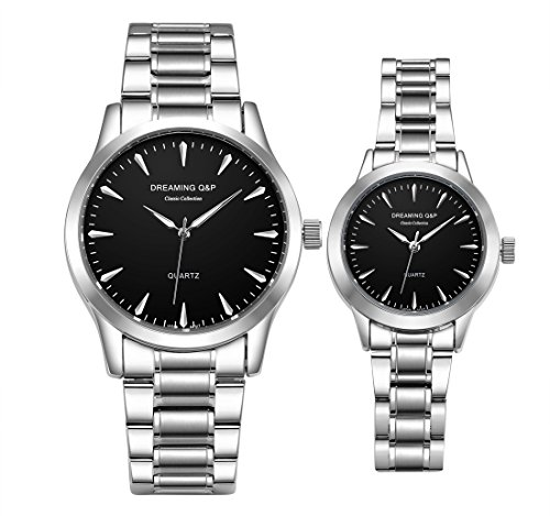 Set Stainless Steel Wrist Watch - Valentines His and Hers Pair Watches - fq240 Men's Women's Silvery Stainless Steel Dress Wristwatches,Simple Style,Black Face,Set of 2