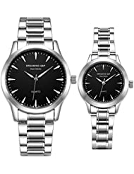 Valentines His and Hers Pair Watches - fq240 Mens Womens Silvery Stainless Steel Dress Wristwatches,Simple Style...